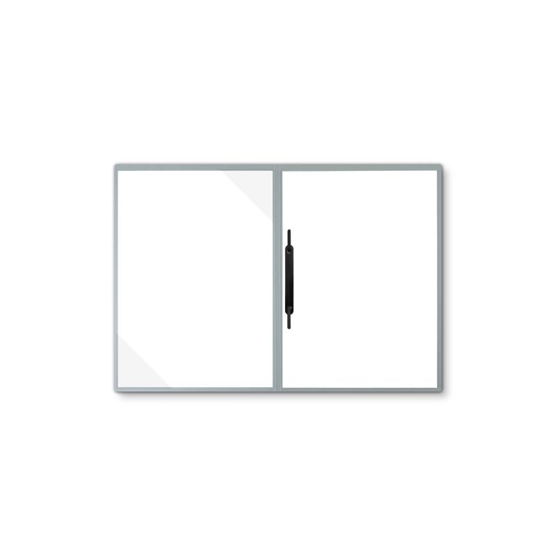 Lederstruktur 2-teilig in Grau mit Dreiecktaschen und 1 Heftstreifen