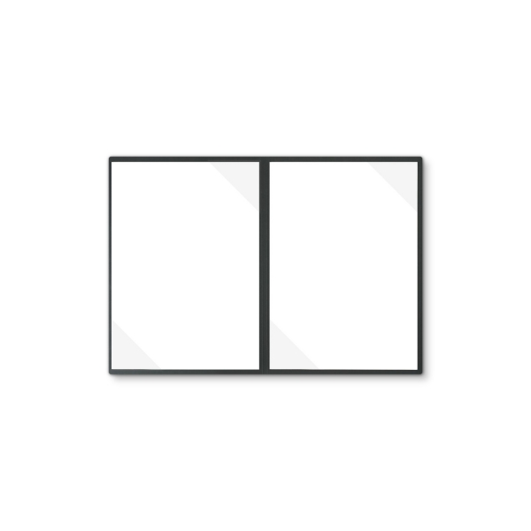 Lederstruktur 2-teilig in Schwarz mit 2 Seiten Dreiecktaschen