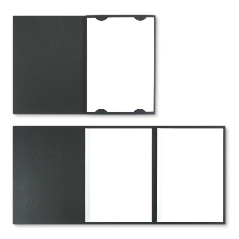 Lederstruktur 3-teilig in Schwarz mit Kartoneinschüben und 2 Klemmschienen