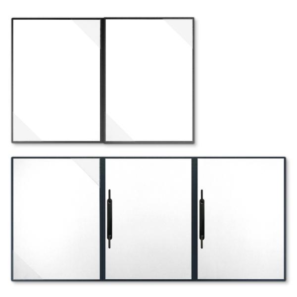 Metallic-Design 4-teilig in Anthrazit mit 2 Seiten Dreiecktaschen und 2 Heftstreifen