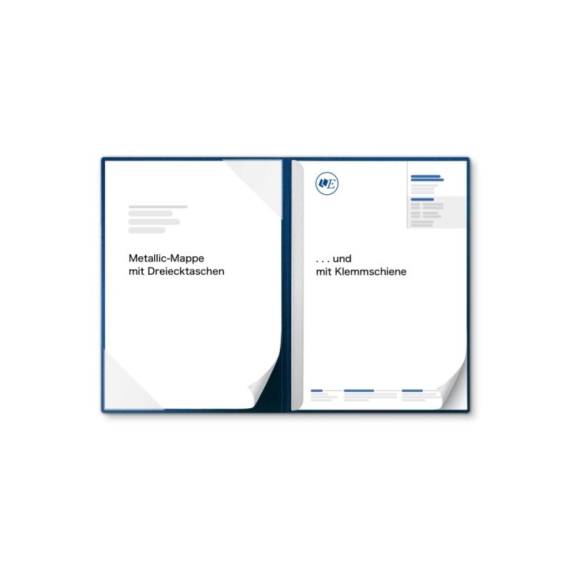 Metallic-Design 2-teilig in Nachtblau mit Dreiecktaschen und 1 Klemmschiene