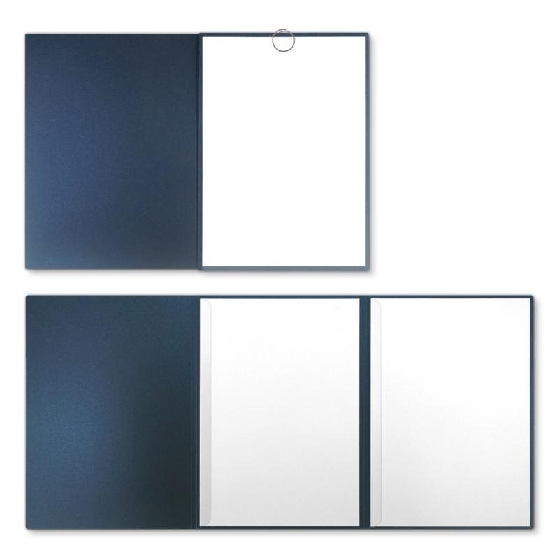 Metallic-Design 3-teilig in Nachtblau mit runder Metallklammer (re.) und 2 Klemmschienen