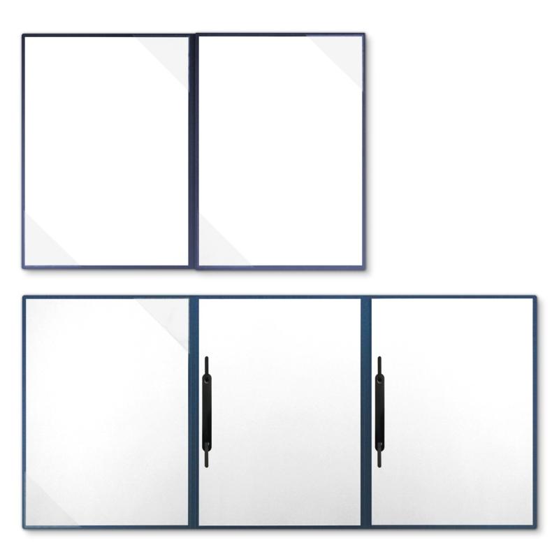 Metallic-Design 4-teilig in Nachtblau mit 2 Seiten Dreiecktaschen und 2 Heftstreifen
