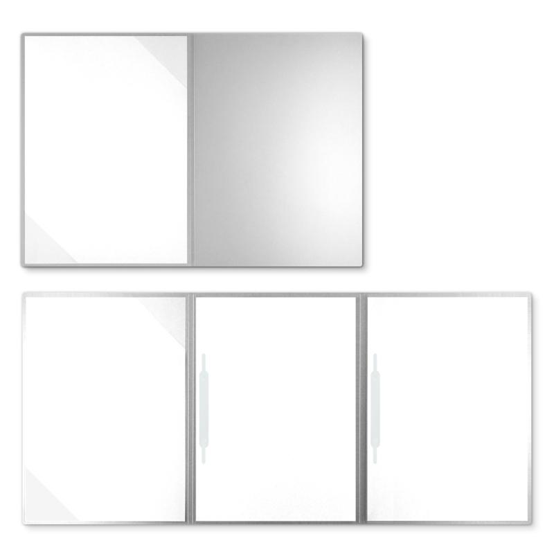 Metallic-Design 3-teilig in Silber mit Dreiecktaschen (li.) und 2 Heftstreifen
