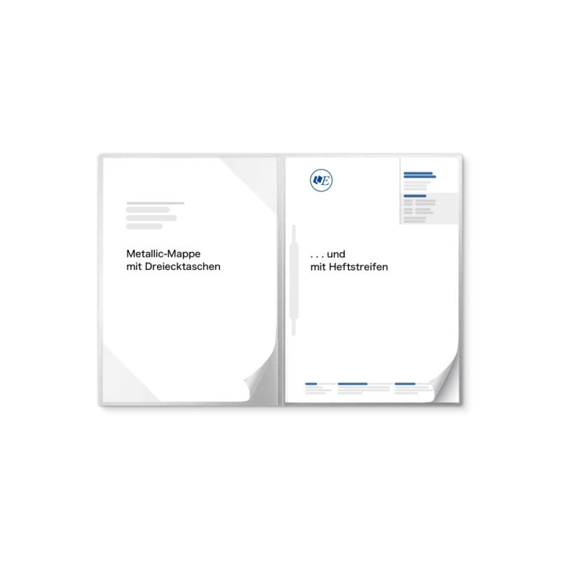 Metallic-Design 2-teilig in Silber mit Dreiecktaschen und 1 Heftstreifen