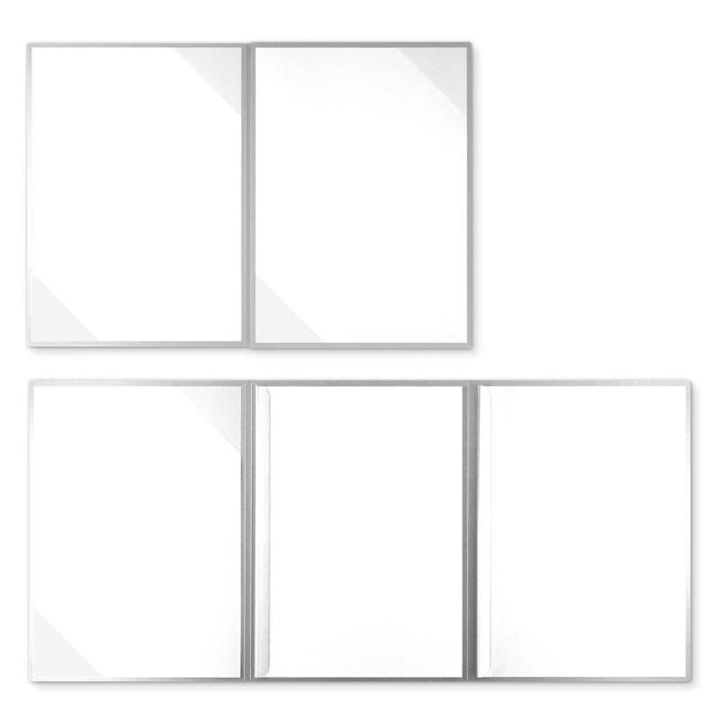 Metallic-Design 4-teilig in Silber mit 2 Seiten Dreiecktaschen und 2 Klemmschienen