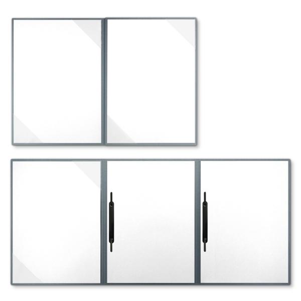 Metallic-Design 4-teilig in Zink mit 2 Seiten Dreiecktaschen und 2 Heftstreifen