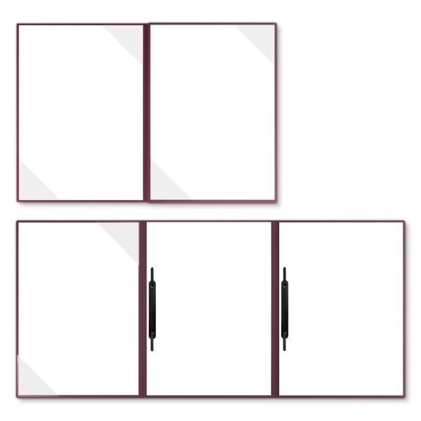Holzstruktur 4-teilig in Bordeaux mit 2 Seiten Dreiecktaschen und 2 Heftstreifen