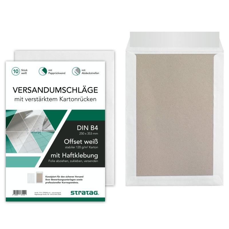 50 Stück B4 Versandtaschen in Weiß mit Papprückwand, 250 x 353 mm