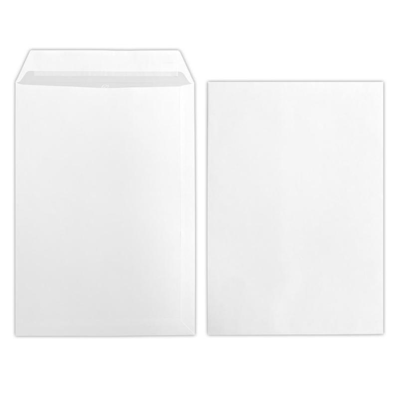 100 Stück B4 Versandtaschen in Weiß, haftklebend mit Abdeckstreifen, ohne Fenster