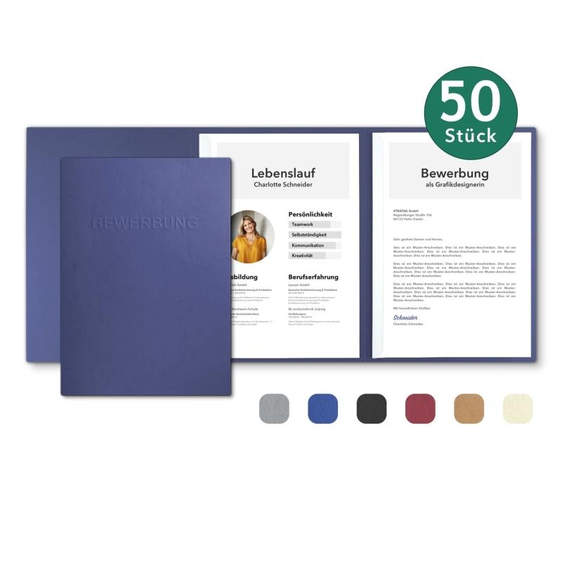 50 Stück 3-teilige Bewerbungsmappen in feinster Lederstruktur