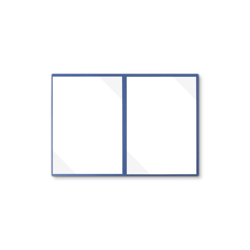 Lederstruktur 2-teilig in Blau mit 2 Seiten Dreiecktaschen