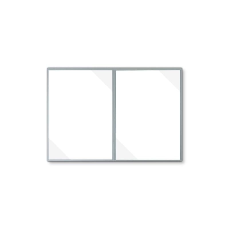 Lederstruktur 2-teilig in Grau mit 2 Seiten Dreiecktaschen