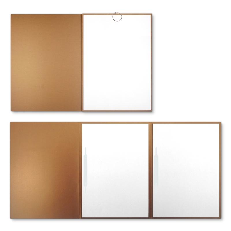 Metallic-Design 3-teilig in Kupfer mit runder Metallklammer (re.) und 2 Heftstreifen