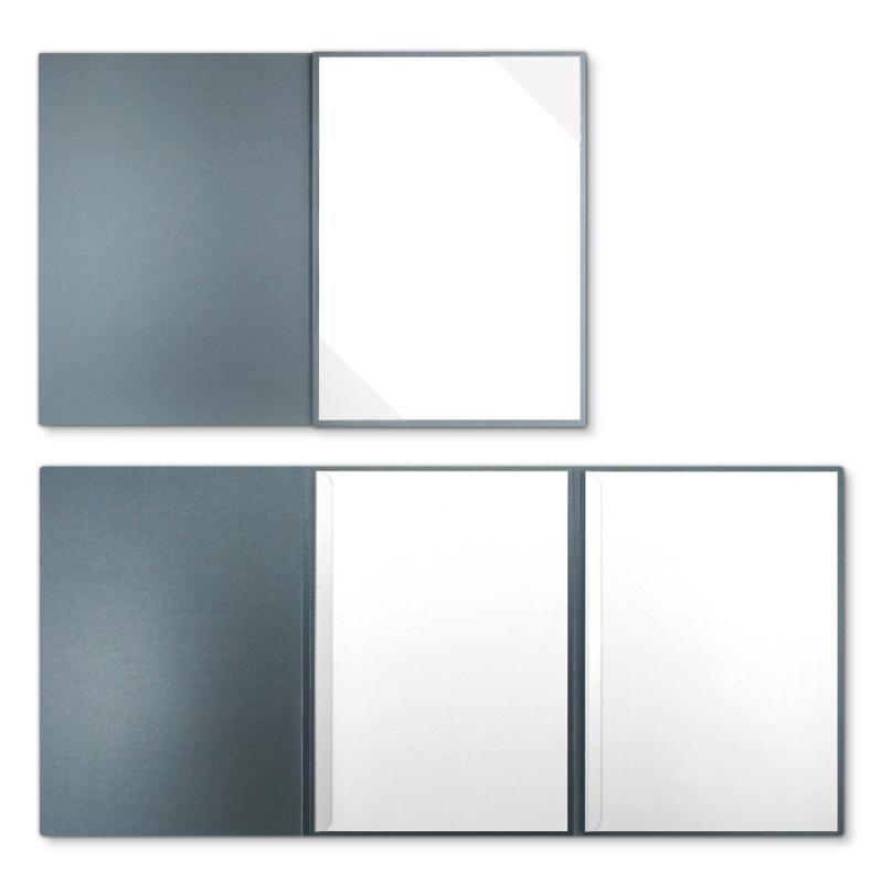 Metallic-Design 3-teilig in Zink mit Dreiecktaschen (re.) und 2 Klemmschienen