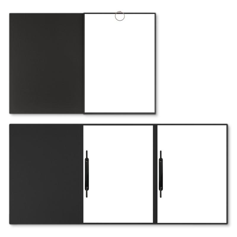 Holzstruktur 3-teilig in Schwarz mit runder Metallklammer und 2 Heftstreifen