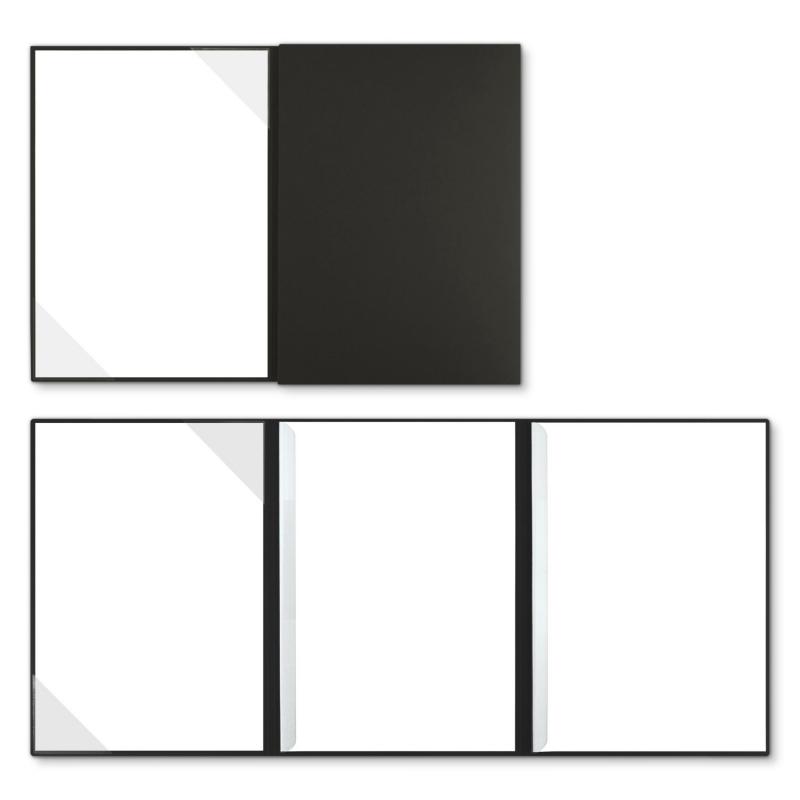 Holzstruktur 3-teilig in Schwarz mit Dreiecktaschen (li.) und 2 Klemmschienen
