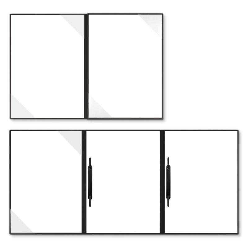 Holzstruktur 4-teilig in Schwarz mit 2 Seiten Dreiecktaschen und 2 Heftstreifen