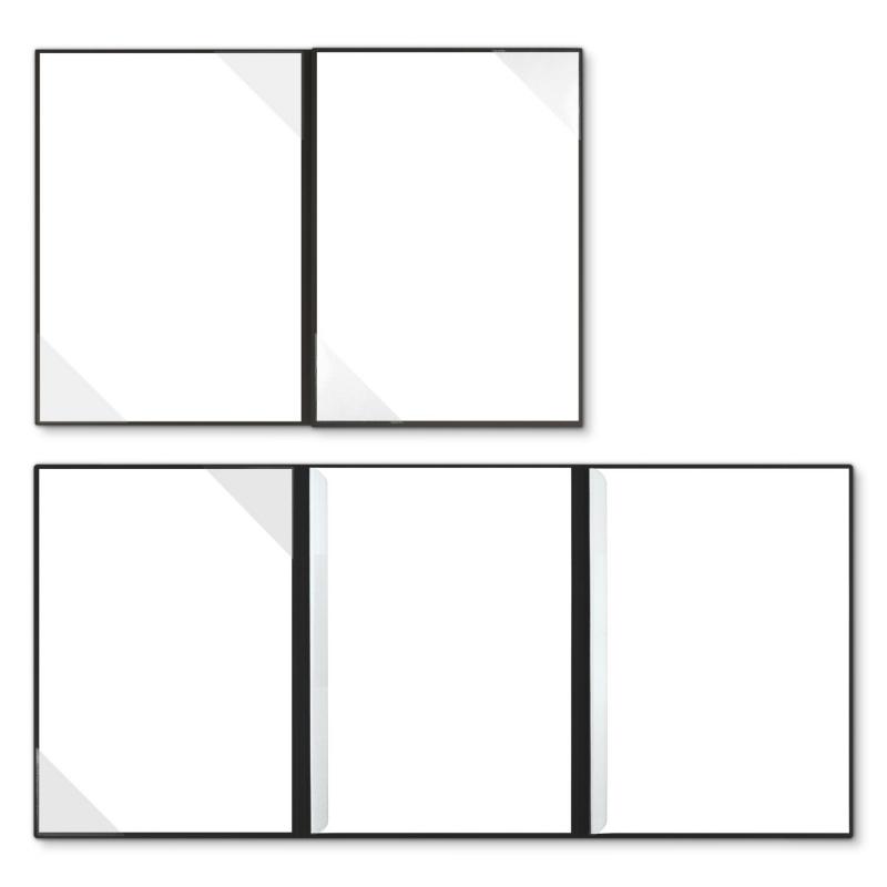 Holzstruktur 4-teilig in Schwarz mit 2 Seiten Dreiecktaschen und 2 Klemmschienen