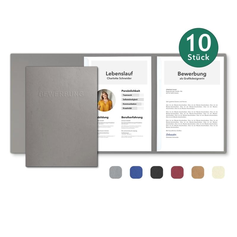 10 Stück 3-teilige Bewerbungsmappen in feinster Lederstruktur