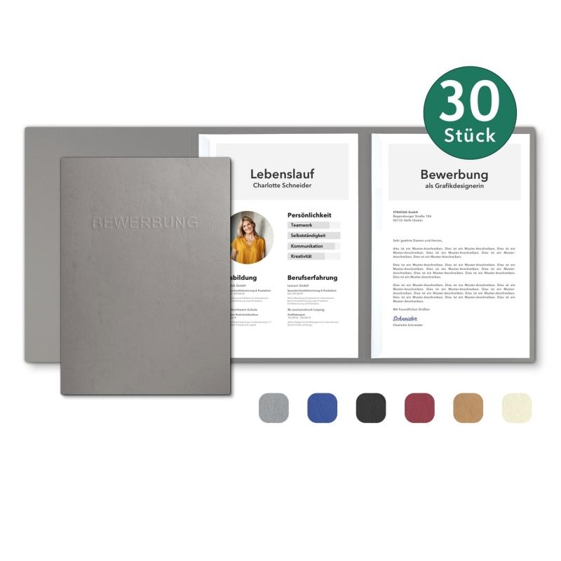 30 Stück 3-teilige Bewerbungsmappen in feinster Lederstruktur