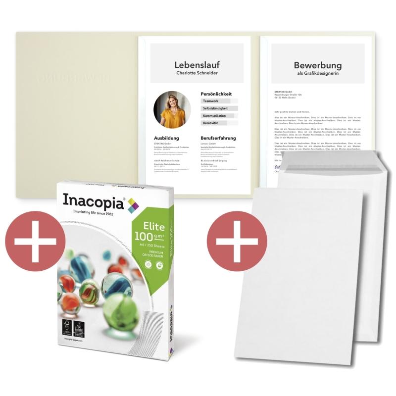 10 Stück 3-teilige Bewerbungsmappen + Bewerbungspapier + B4 Versandtaschen (copy)