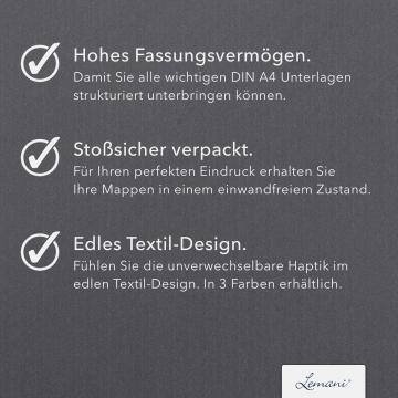 8 Stück Willkommensmappen Lemani® CARISMA Textilstruktur