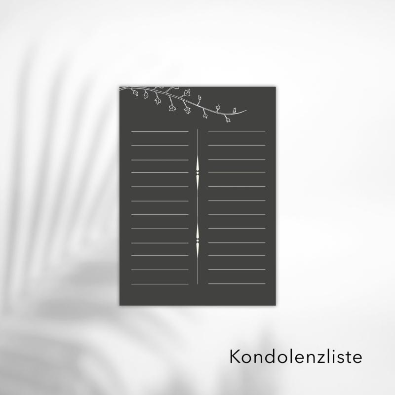Kondolenzliste Schlicht Black