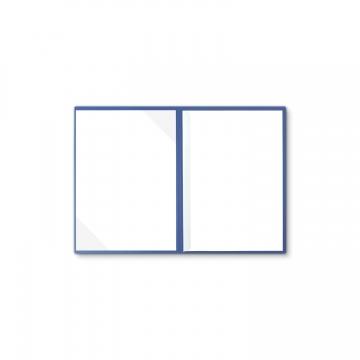 Lederstruktur 2-teilig in Blau mit Dreiecktaschen und 1 Klemmschiene