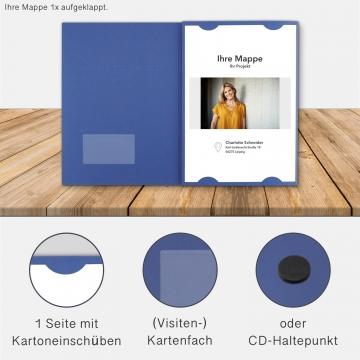 Lederstruktur 3-teilig in Blau mit Kartoneinschüben und 2 Heftstreifen