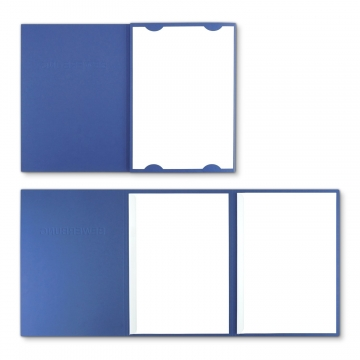 Lederstruktur 3-teilig in Blau mit Kartoneinschüben und 2 Klemmschienen
