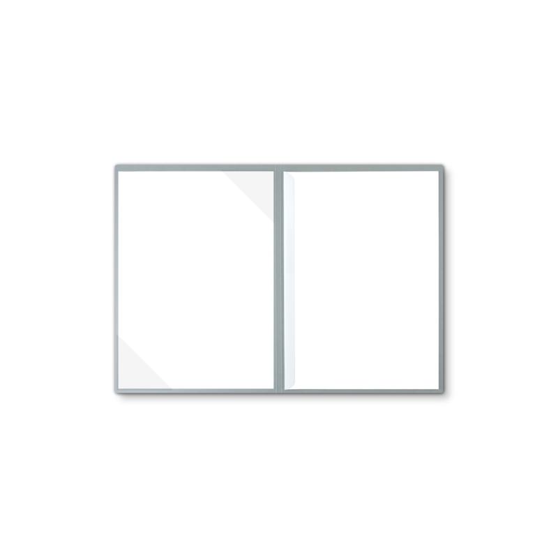 Lederstruktur 2-teilig in Grau mit Dreiecktaschen und 1 Klemmschiene