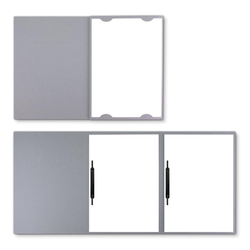 Lederstruktur 3-teilig in Grau mit Kartoneinschüben und 2 Heftstreifen