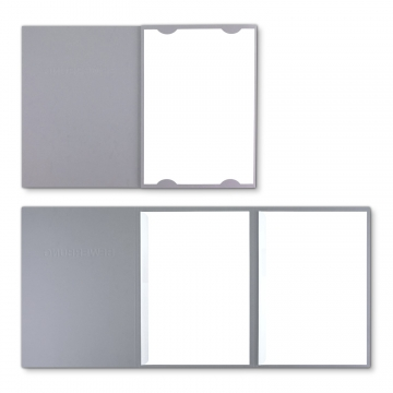 Lederstruktur 3-teilig in Grau mit Kartoneinschüben und 2 Klemmschienen