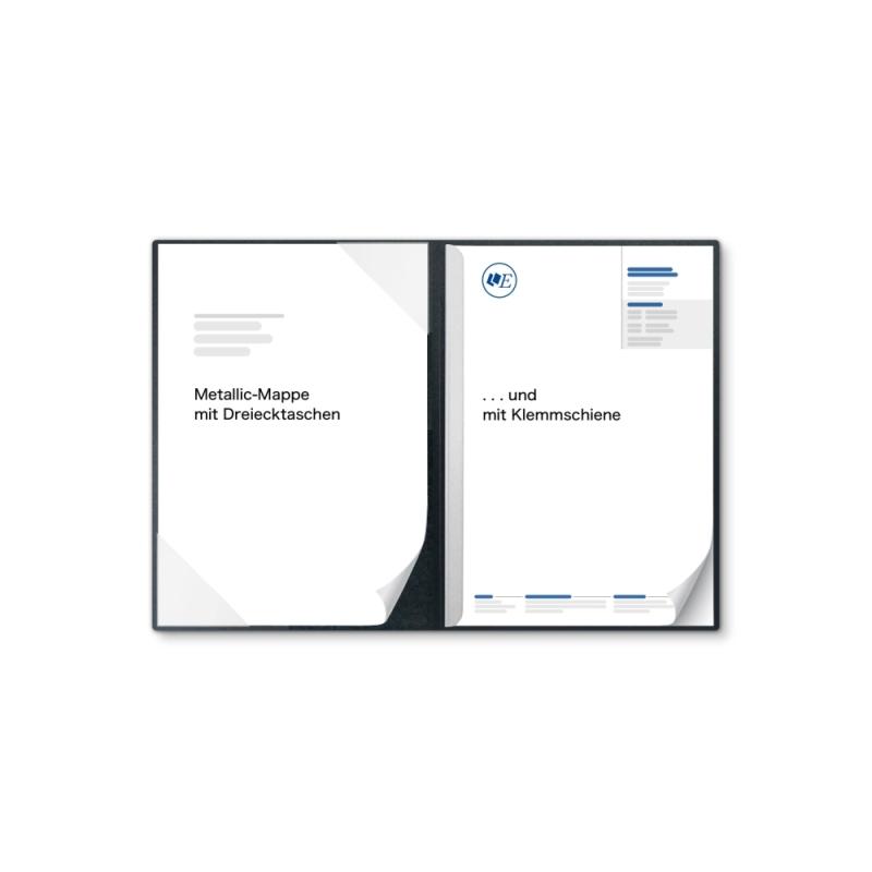 Metallic-Design 2-teilig in Anthrazit mit Dreiecktaschen und 1 Klemmschiene