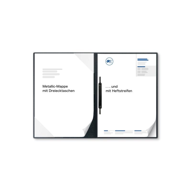 Metallic-Design 2-teilig in Anthrazit mit Dreiecktaschen und 1 Heftstreifen