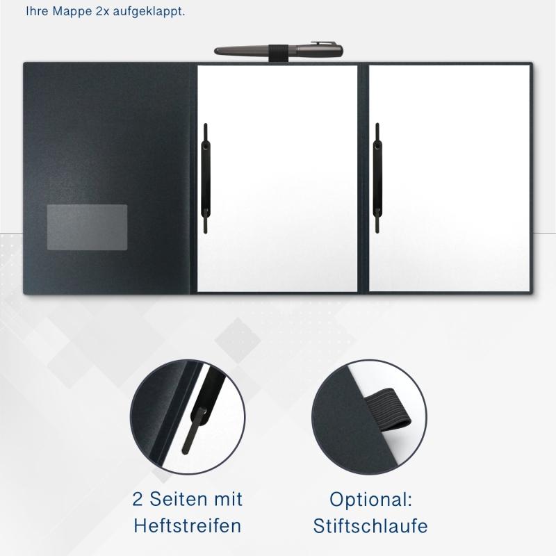 Metallic-Design 3-teilig in Anthrazit mit runder Metallklammer (re.) und 2 Heftstreifen