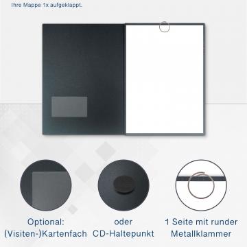 Metallic-Design 3-teilig in Anthrazit mit runder Metallklammer (re.) und 2 Klemmschienen