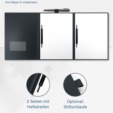 Metallic-Design 3-teilig in Anthrazit mit Dreiecktaschen (re.) und 2 Heftstreifen