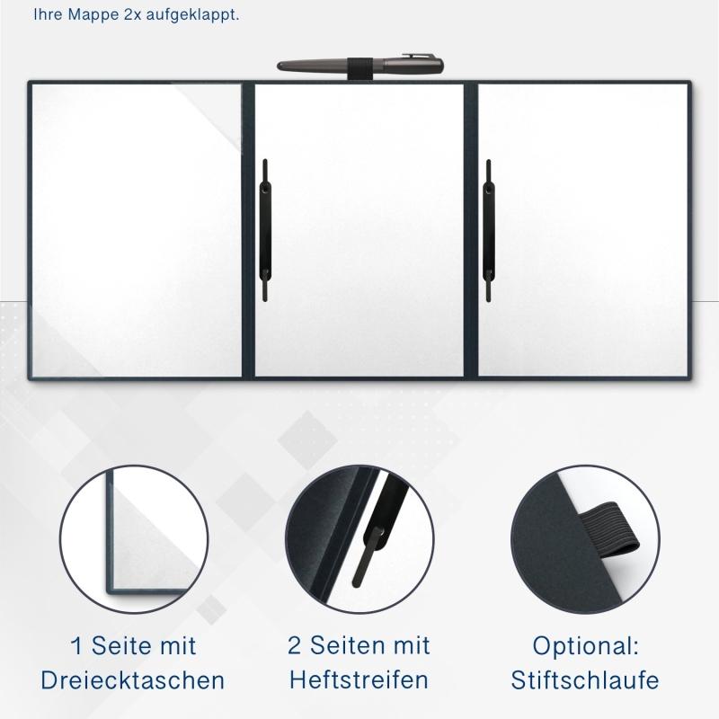 Metallic-Design 3-teilig in Anthrazit mit Dreiecktaschen (li.) und 2 Heftstreifen