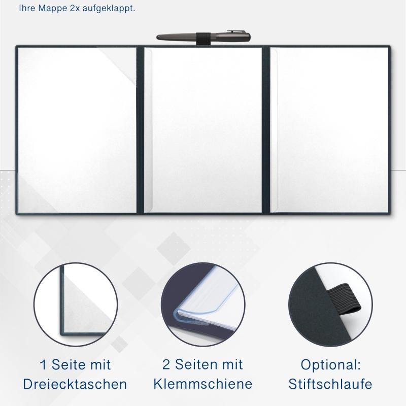 Metallic-Design 3-teilig in Anthrazit mit Dreiecktaschen (li.) und 2 Klemmschienen