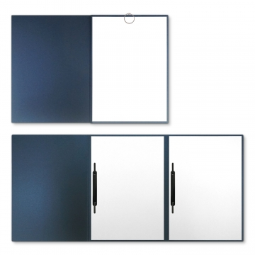 Metallic-Design 3-teilig in Nachtblau mit runder Metallklammer (re.) und 2 Heftstreifen