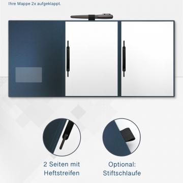 Metallic-Design 3-teilig in Nachtblau mit Dreiecktaschen (re.) und 2 Heftstreifen