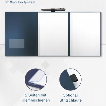 Metallic-Design 3-teilig in Nachtblau mit Dreiecktaschen (re.) und 2 Klemmschienen