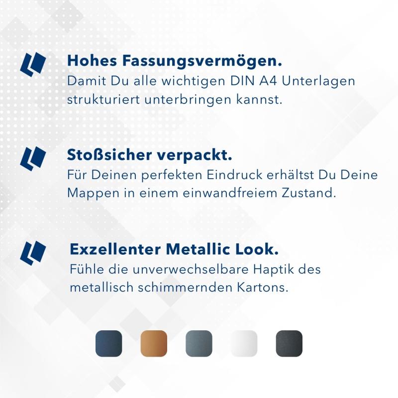 Metallic-Design 3-teilig in Nachtblau mit Dreiecktaschen (li.) und 2 Klemmschienen