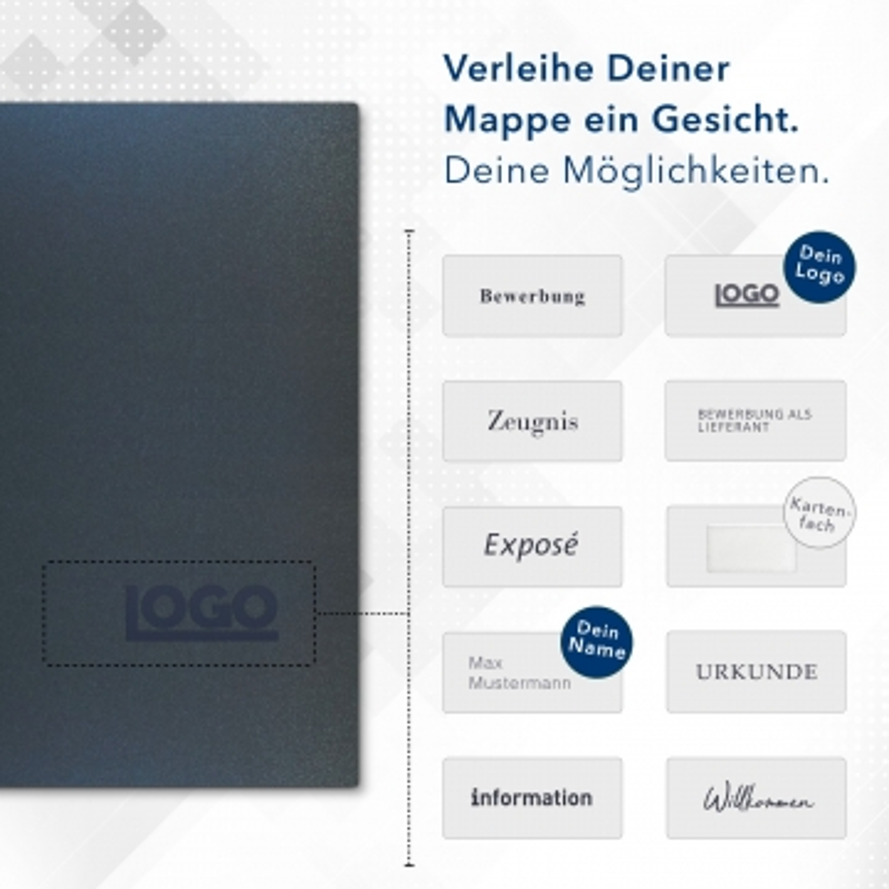 Metallic-Design 4-teilig in Nachtblau mit 2 Seiten Dreiecktaschen und 2 Klemmschienen