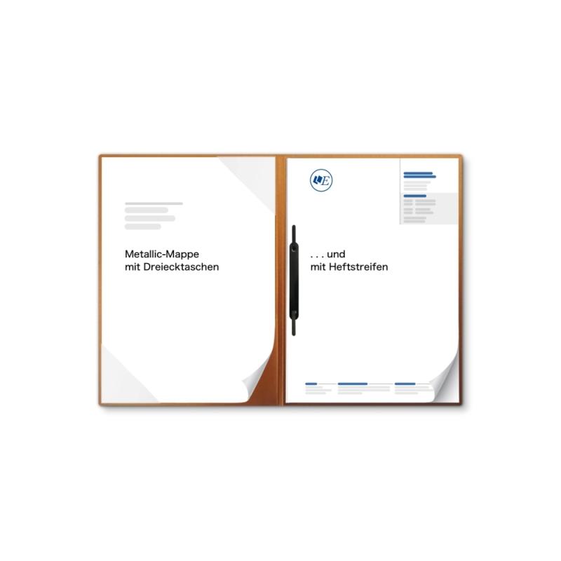 Metallic-Design 2-teilig in Kupfer mit Dreiecktaschen und 1 Heftstreifen