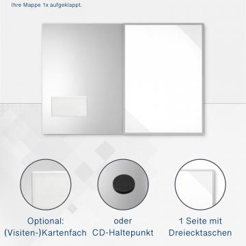 Metallic-Design 3-teilig in Silber mit Dreiecktaschen (re.) und 2 Heftstreifen