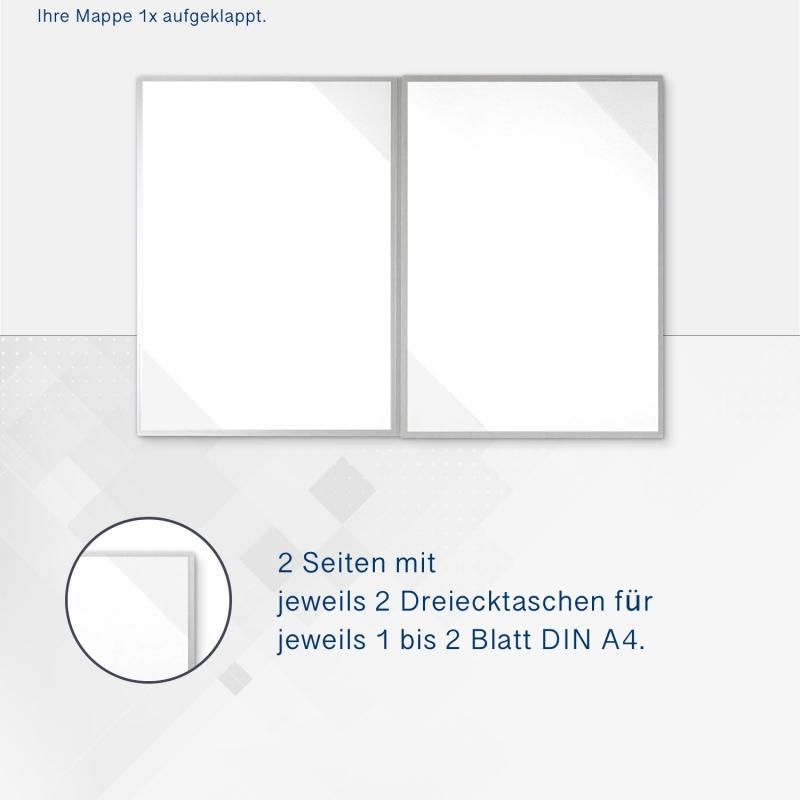 Metallic-Design 4-teilig in Silber mit 2 Seiten Dreiecktaschen und 2 Heftstreifen