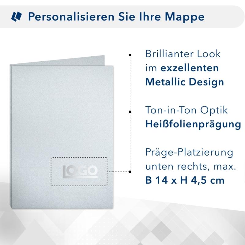 Metallic-Design 2-teilig in Silber mit 2 Seiten Dreiecktaschen